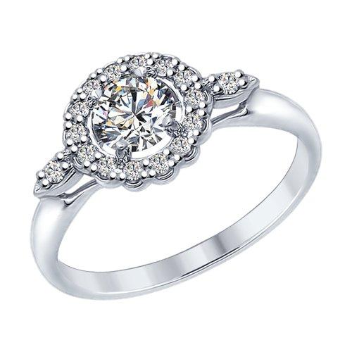 Кольцо из серебра с фианитами (94012595) - фото