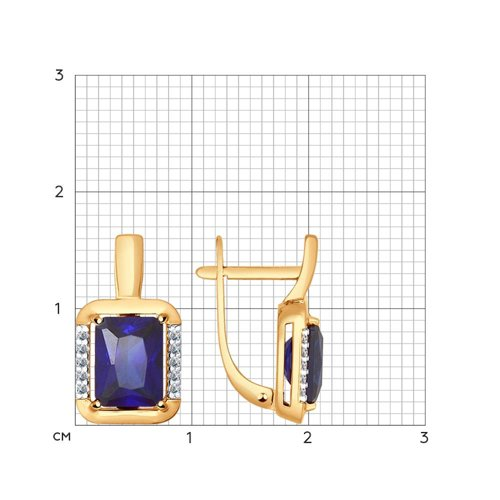 Серьги из золота с корундами сапфировыми (синт.) и фианитами (724433) - фото №2
