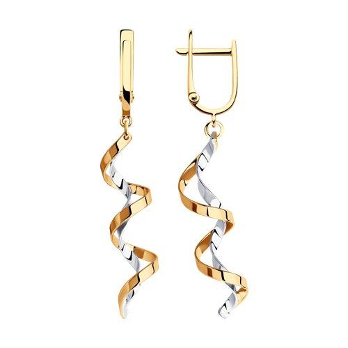 Серьги длинные из комбинированного золота 021184 sokolov фото