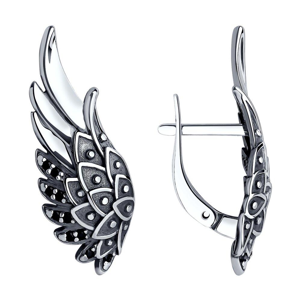 Серьги «Крылья» SOKOLOV из серебра с чернением