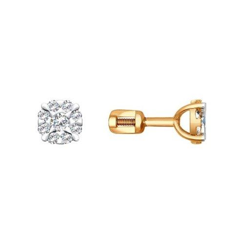 Серьги-пусеты из золота с бриллиантами (1020713) - фото