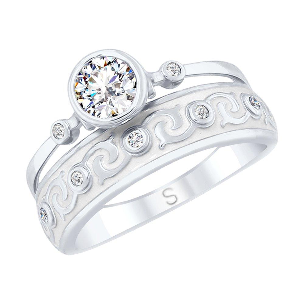 Кольцо SOKOLOV из серебра с эмалью и горным хрусталем и фианитами фото