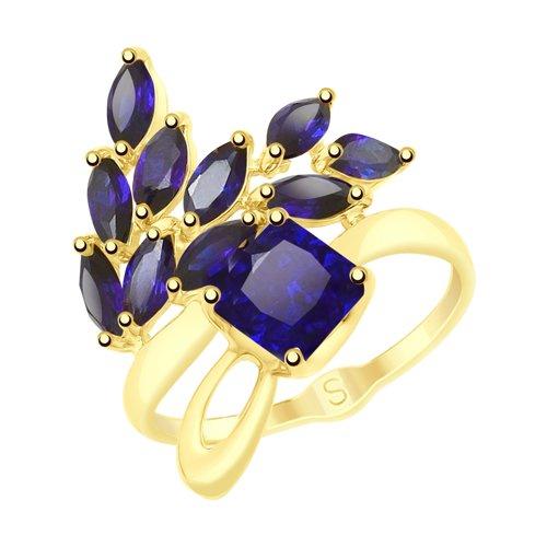Кольцо из желтого золота с синими корунд (синт.)