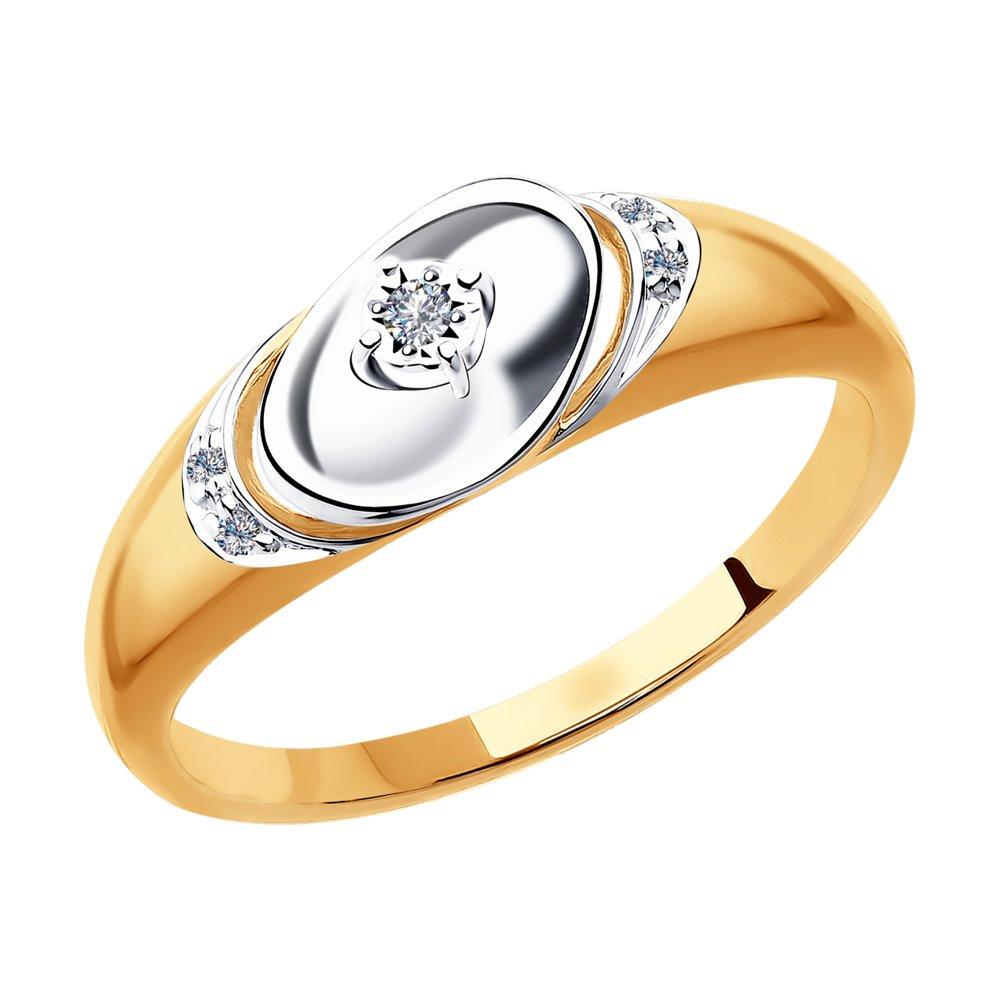 Кольцо SOKOLOV из комбинированного золота с бриллиантами кольцо с бриллиантами из розового золота valtera 43925