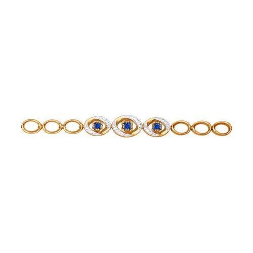 Золотой браслет с тремя сапфирами окруженными бриллиантами