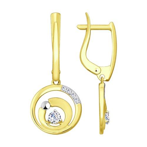 Серьги из желтого золота с фианитами (028005-2) - фото