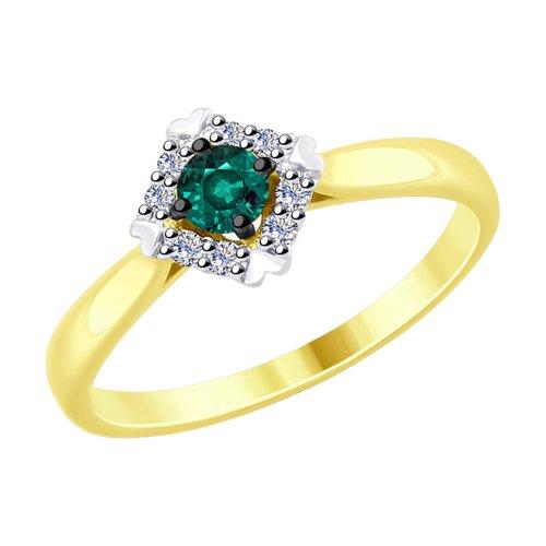 Кольцо из желтого золота с бриллиантами и гидротермальным изумрудом (синт.)