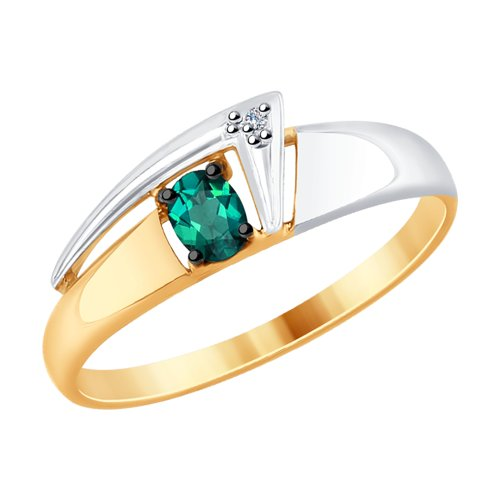 Кольцо из золота с бриллиантом и гидротермальным изумрудом (синт.) (6017023) - фото