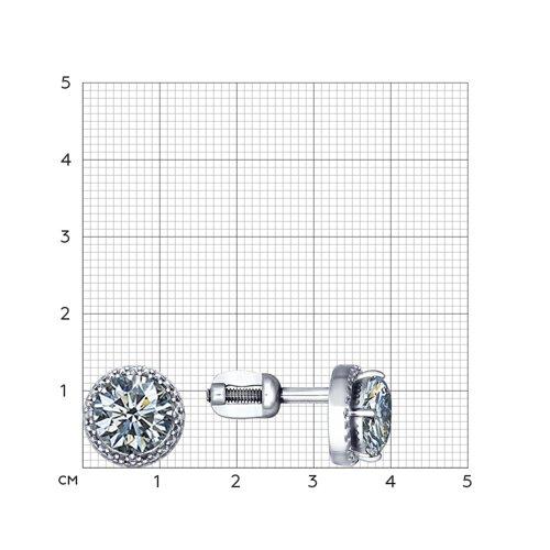 Серьги-пусеты из серебра с фианитами (94020573) - фото №2
