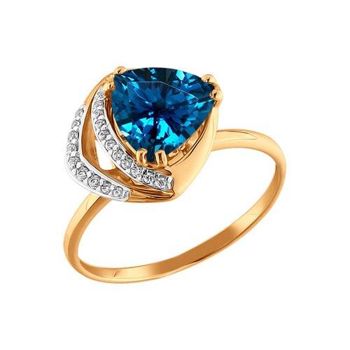 Золотое кольцо с топазом и фианитами SOKOLOV кюп женское золотое кольцо с куб циркониями и топазом alm1750203164 18 5