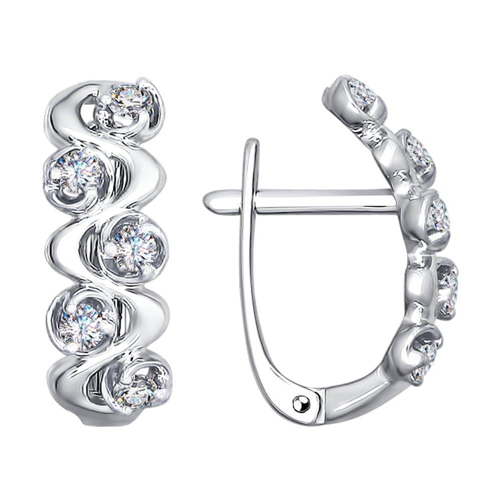 Фото - Серьги SOKOLOV из белого золота с бриллиантами серьги кольца из белого золота с бриллиантами