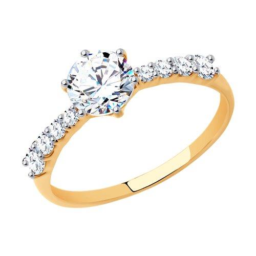 Помолвочное кольцо из золота со Swarovski Zirconia (81010240) - фото