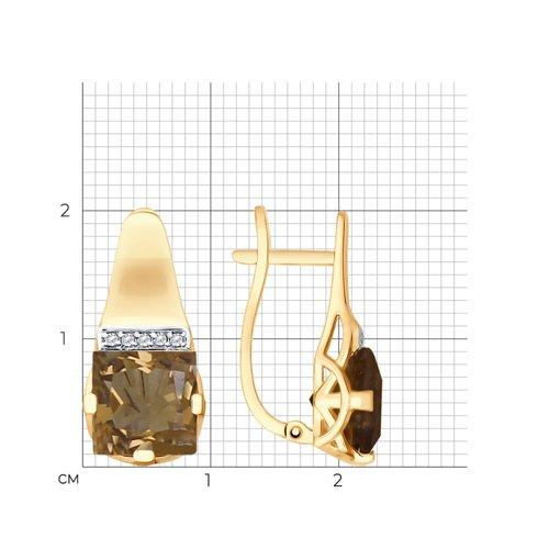 Серьги из золота с раухтопазами и фианитами 725539 SOKOLOV фото 2