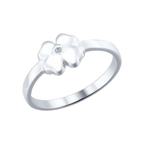 Кольцо SOKOLOV из серебра с бриллиантом «Удача»