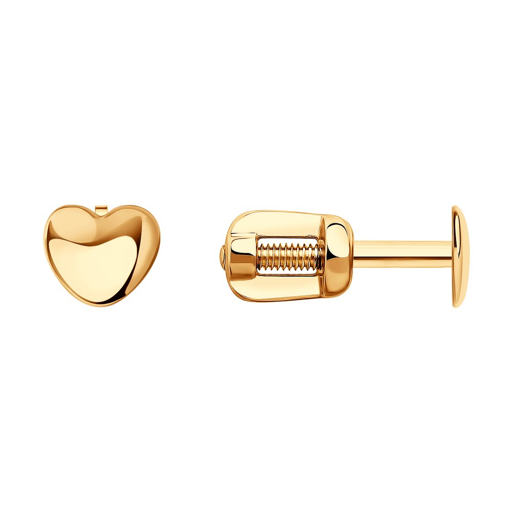 Серьги-гвоздики SOKOLOV из золота в форме сердца