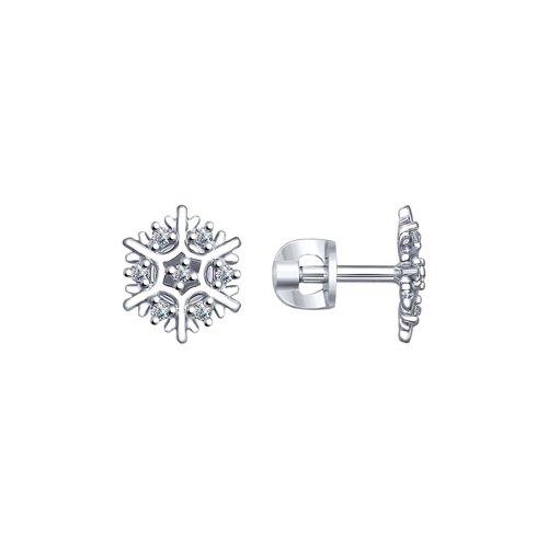 Серьги «Снежинки» из серебра  (94022565) - фото