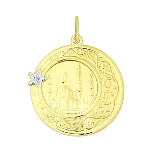 Подвеска из желтого золота с фианитом (034844-2) - фото