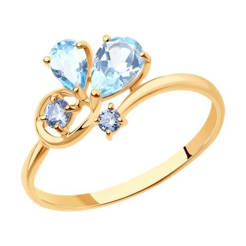 Кольцо из крансного золота с топазами и фианитами