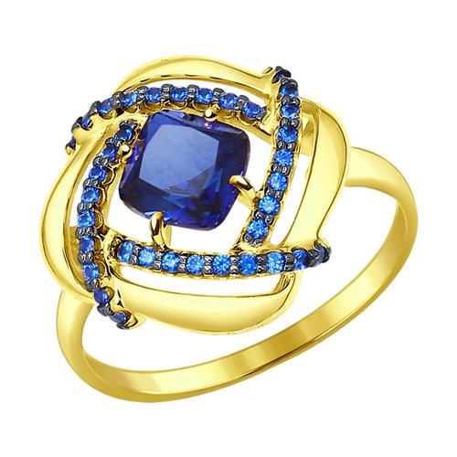 Кольцо из желтого золота с синим корунд (синт.) и синими фианитами 714326-2 SOKOLOV фото