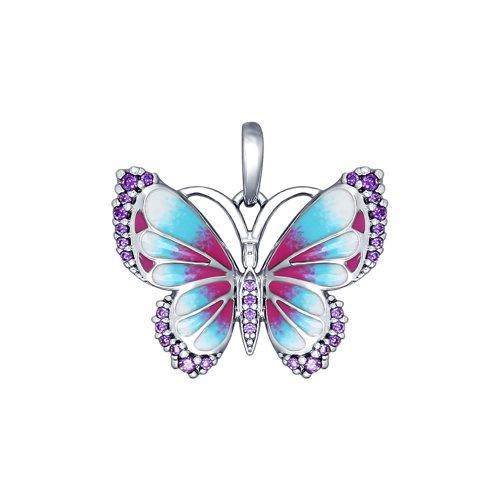 Подвеска в виде бабочки с эмалью и фианитами