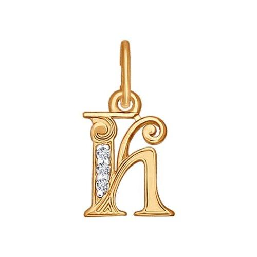 "Подвеска-буква ""К"" из золота с фианитами 033821 sokolov фото"