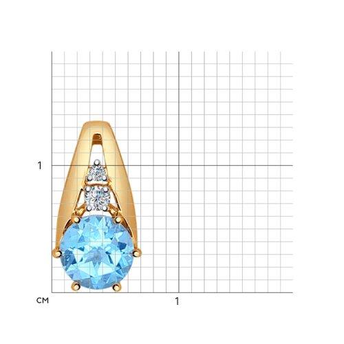 Подвеска из золота с голубым топазом и фианитами (731356) - фото №2