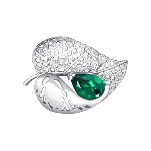 Брошь в форме листка с зелёным фианитом SOKOLOV брошь в форме листка sokolov из белого золота