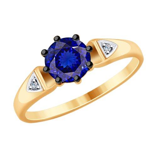 Кольцо из золота с бриллиантами и синими корундами (6012134) - фото