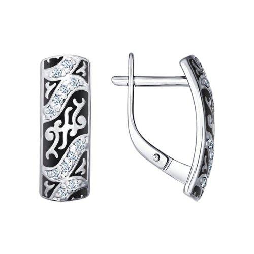Серьги SOKOLOV из серебра с эмалью с фианитами серьги с 146 фианитами из серебра