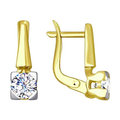 Серьги из желтого золота с фианитами (027600-2) - фото