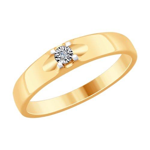 Кольцо из комбинированного золота с бриллиантом (1011765) - фото