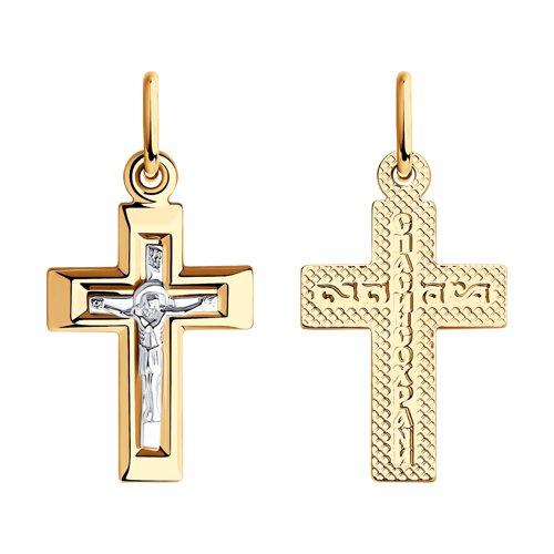 Подвеска- крест из комбинированного золота 121451 sokolov фото