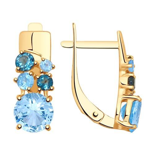 Серьги из золота с голубыми и синими топазами (725295) - фото
