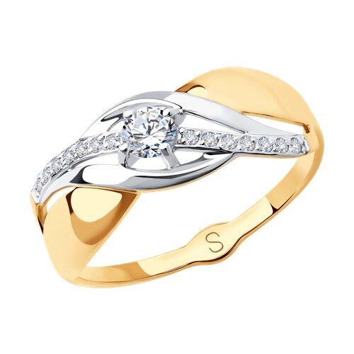 Кольцо из золота с фианитами (017948) - фото