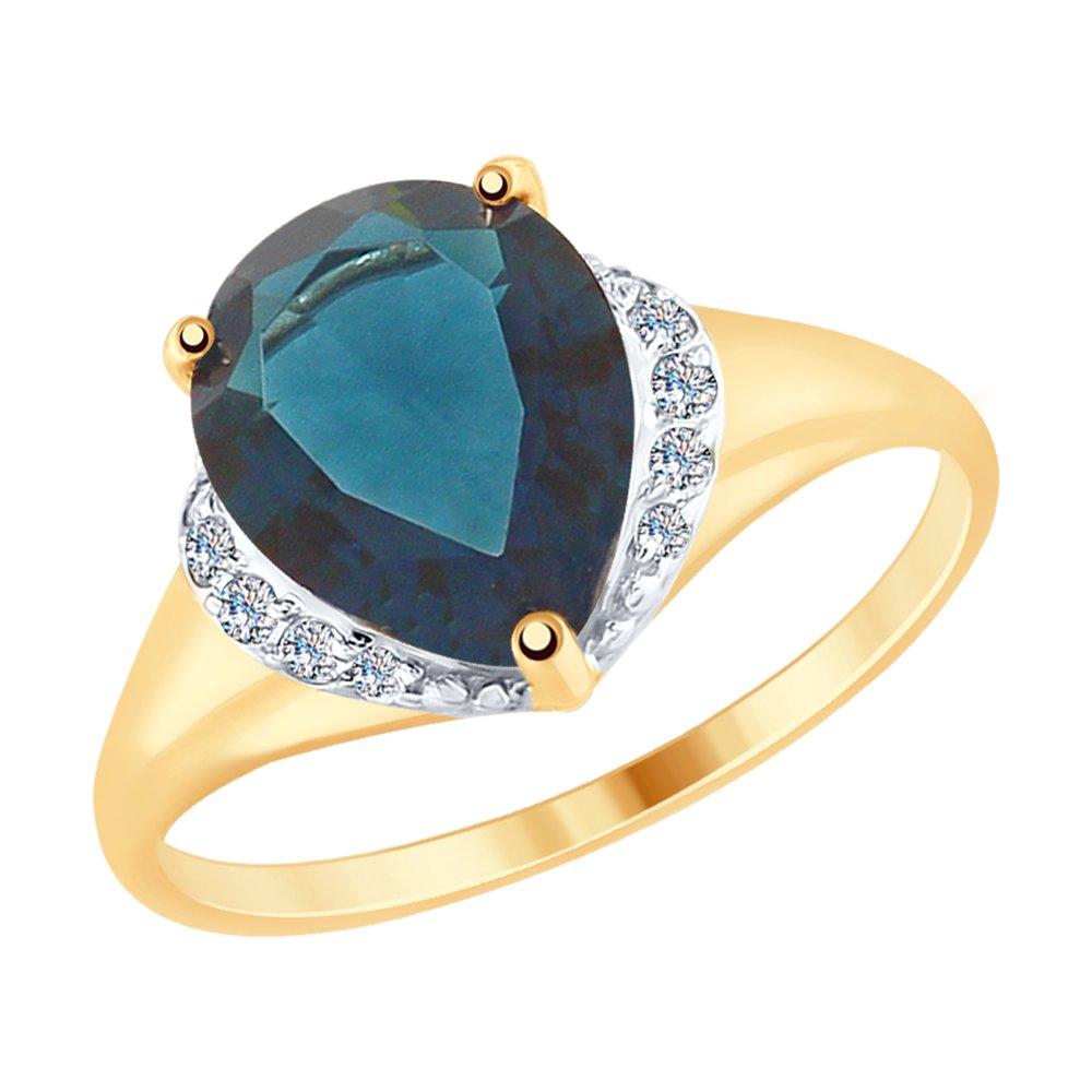 Кольцо SOKOLOV из золота с синим топазом и фианитами фото