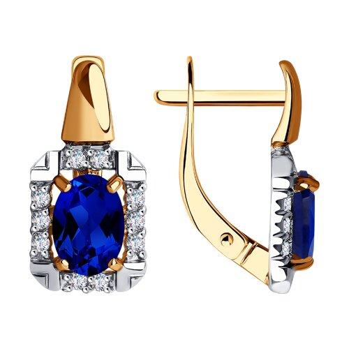 Серьги из золота с синими корунд (синт.) и фианитами (725612) - фото