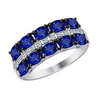 Кольцо из белого золота с бриллиантами и синими корундами