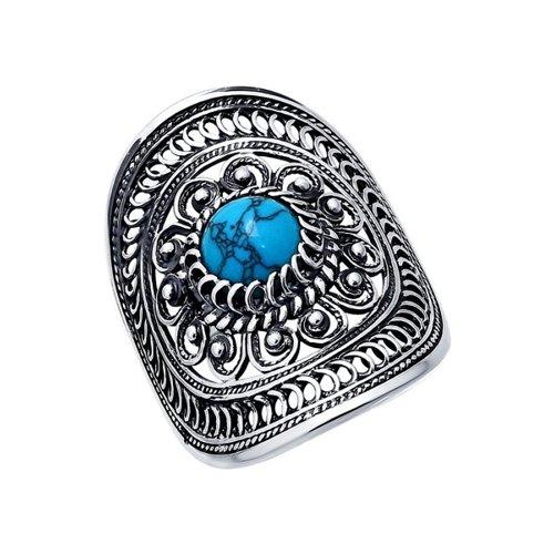 Кольцо SOKOLOV из чернёного серебра с бирюза синтетическая кольцо с хризопразами из чернёного серебра