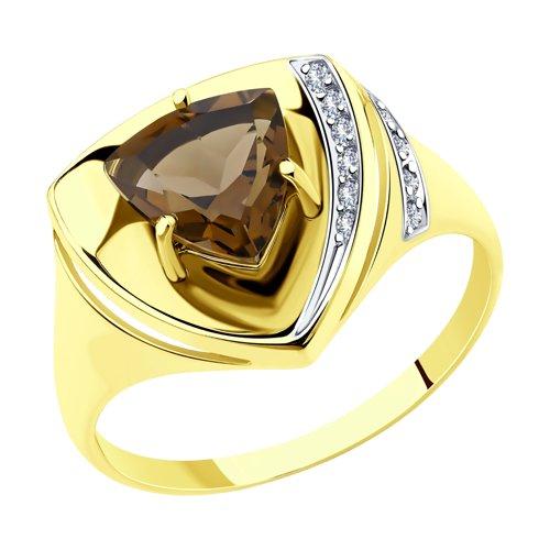 Кольцо из желтого золота с раухтопазом и фианитами