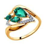 Кольцо из золота с изумрудом гидротермальным и фианитами