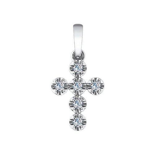 Крест из белого золота с бриллиантами (1030541) - фото
