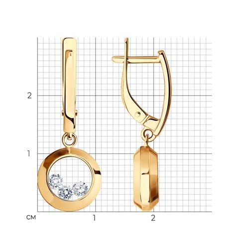 Золотые серьги с танцующими фианитами (027536) - фото №2