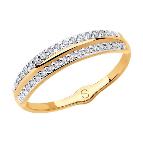 Кольцо из золота с фианитами (018098) - фото