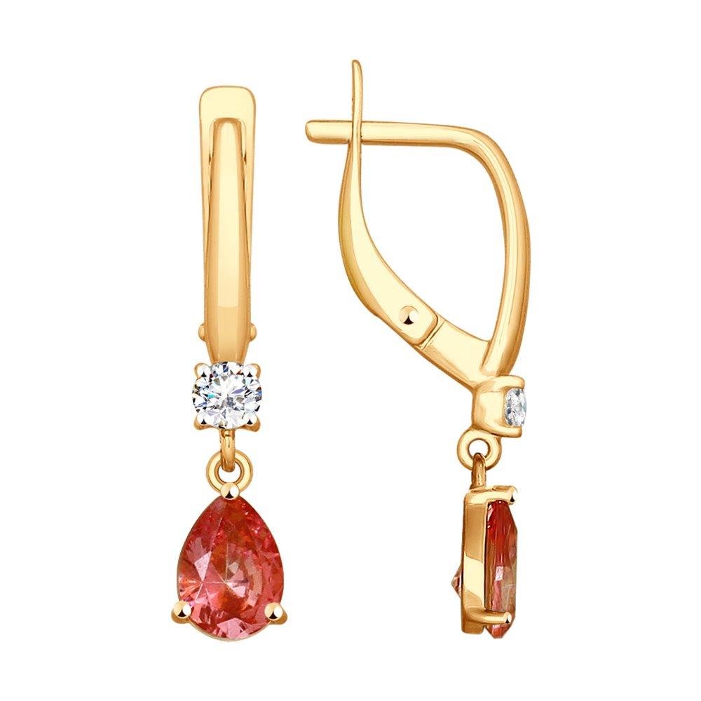 Серьги SOKOLOV из золота с бесцветными и розовыми Swarovski Zirconia