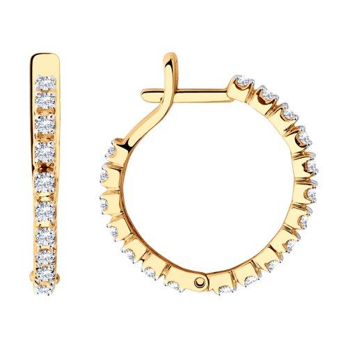 Серьги из золота с фианитами (028525) - фото