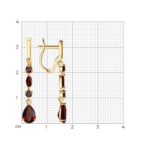 Серьги из золота с гранатами 726033 SOKOLOV фото 2