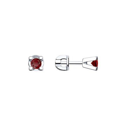 Серьги-пусеты из серебра с красными фианитами