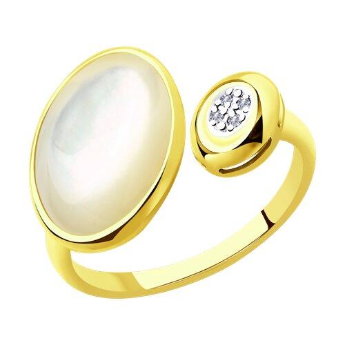 Кольцо из желтого золота с бриллиантами и перламутром