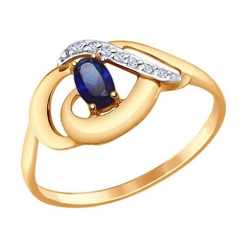 Кольцо из золота с синим корундом (синт.) и фианитами (37714652) - фото