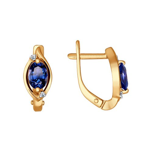 Серьги SOKOLOV из золота с бриллиантами и сапфирами серьги с сапфирами и бриллиантами из розового золота 76240